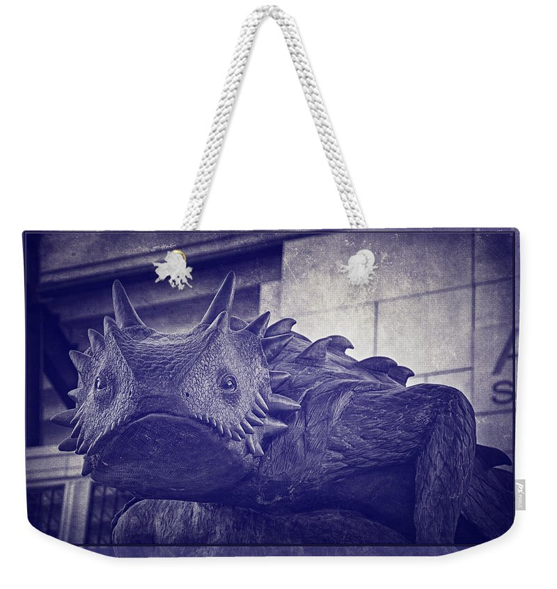 Joan Carroll Weekender Tote Bag featuring the photograph Tcu Horned Frog Purple by Joan Carroll