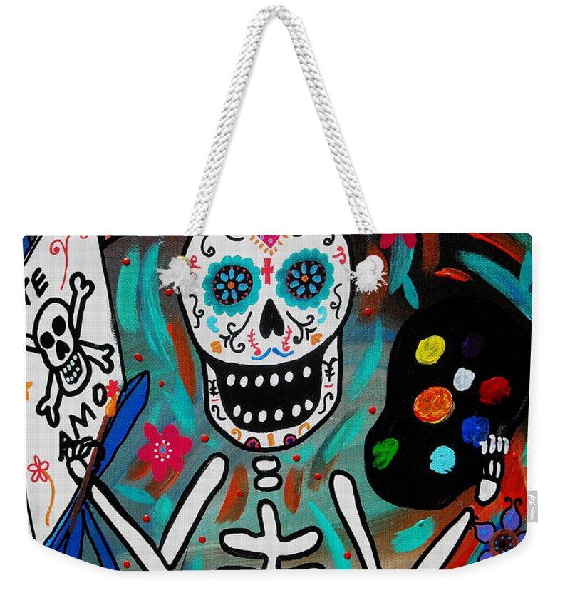 Dia Weekender Tote Bag featuring the painting Te Amo Painter Dia De Los Muertos by Pristine Cartera Turkus