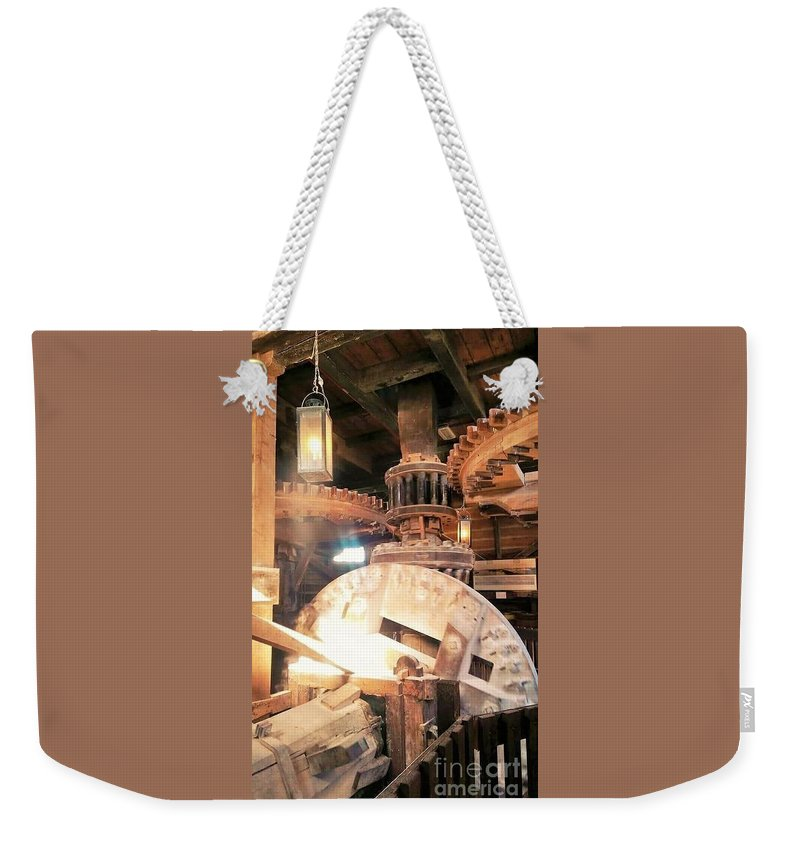 The Nederlands; Windmill; Heart; Inside A Windmill; Gears Weekender Tote Bag featuring the photograph The Heart Of A Windmill The Nederlands by Alicia Ingram