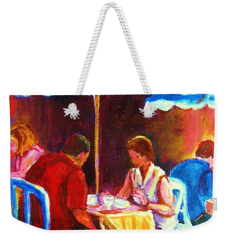 St. Denis Outdoor Cafe Montreal Street Scenes Weekender Tote Bag featuring the painting Tea For Two by Carole Spandau