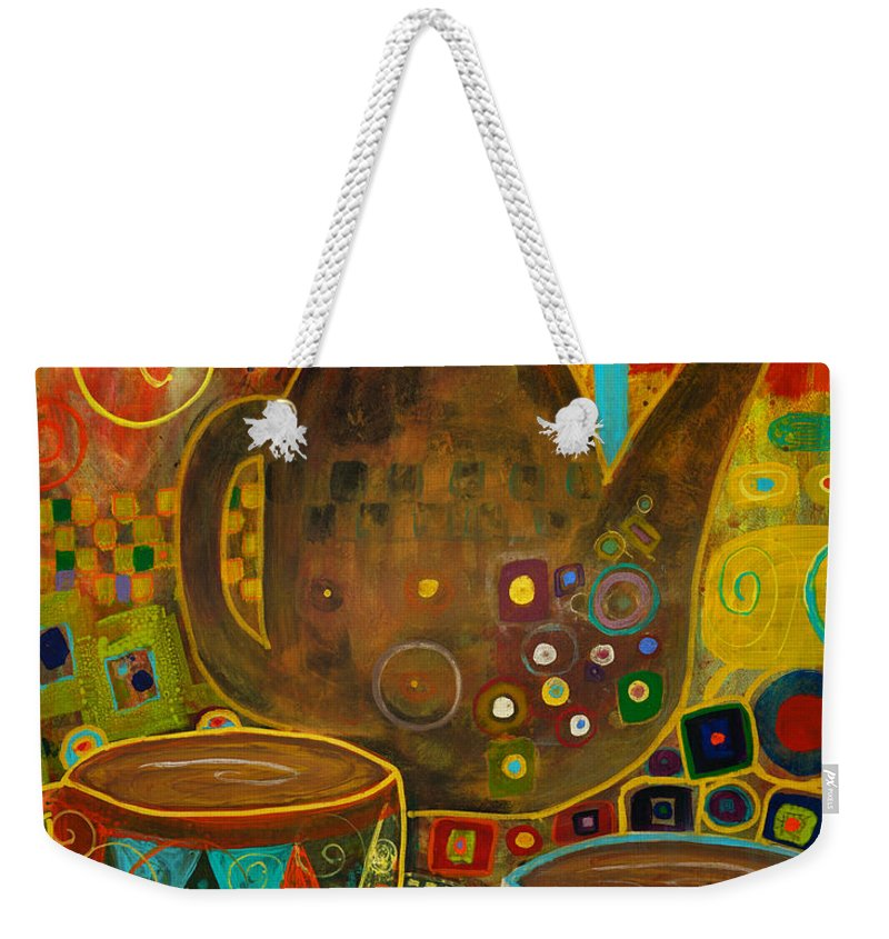 Klimt Weekender Tote Bag featuring the painting Tea Party With Klimt by Robin Maria Pedrero
