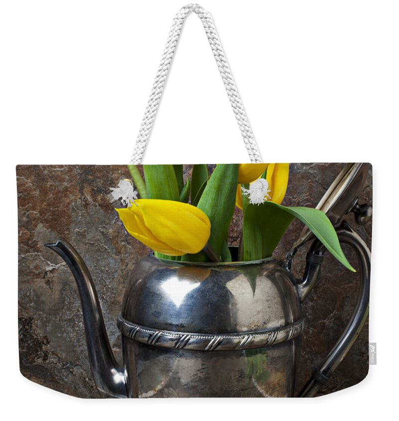 Tea Pot Weekender Tote Bag featuring the photograph Tea Pot And Tulips by Garry Gay