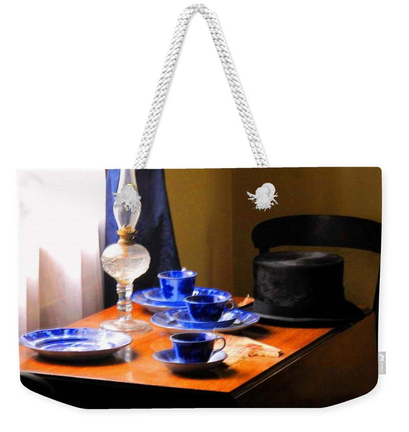 Plate Weekender Tote Bag featuring the photograph Tea Time Composition by Ian MacDonald