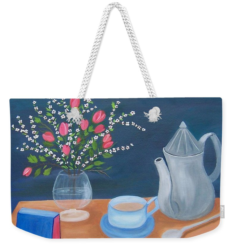Still Life Weekender Tote Bag featuring the painting Tea Time by Ruth Housley