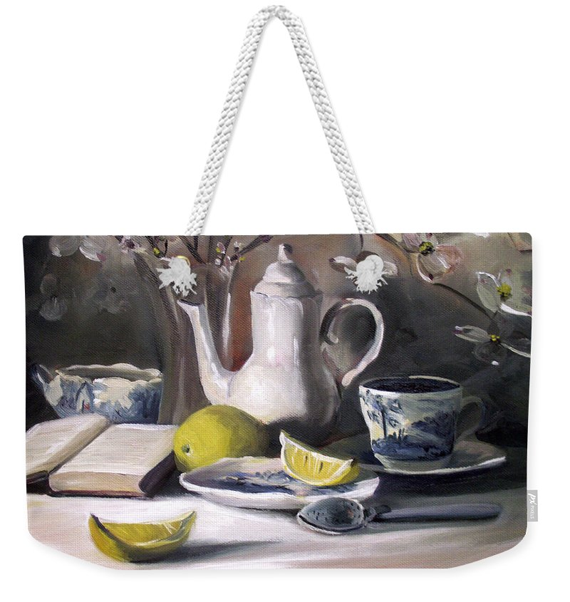 Lemon Weekender Tote Bag featuring the painting Tea With Lemon by Nancy Griswold