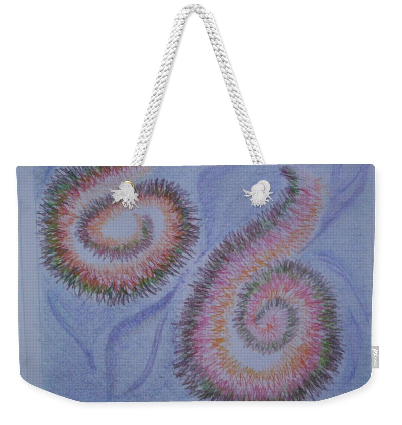 Abstract Weekender Tote Bag featuring the drawing Teach Me by Suzanne Udell Levinger