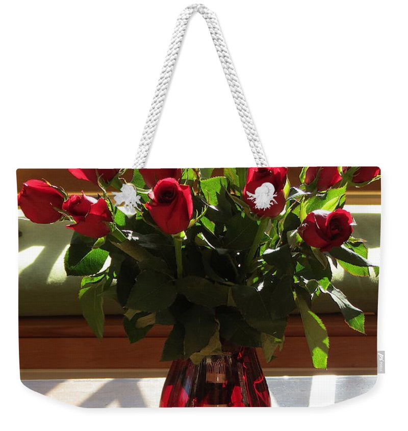 Aimee Mouw Weekender Tote Bag featuring the photograph Teak And Roses by Aimee Mouw