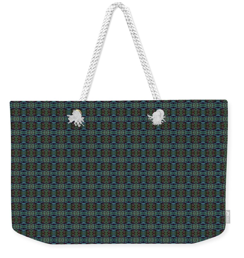 Weekender Tote Bag featuring the painting Teal Diamond Crackle From Sunset Strip by Sue Duda