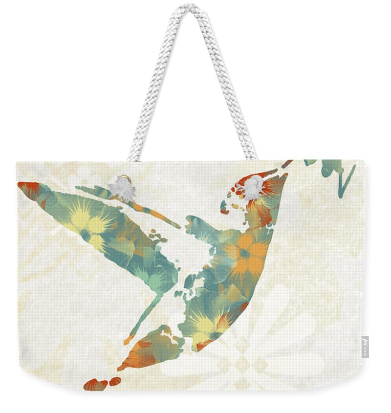 Hummingbird Art Weekender Tote Bag featuring the mixed media Floral Hummingbird Art by Christina Rollo