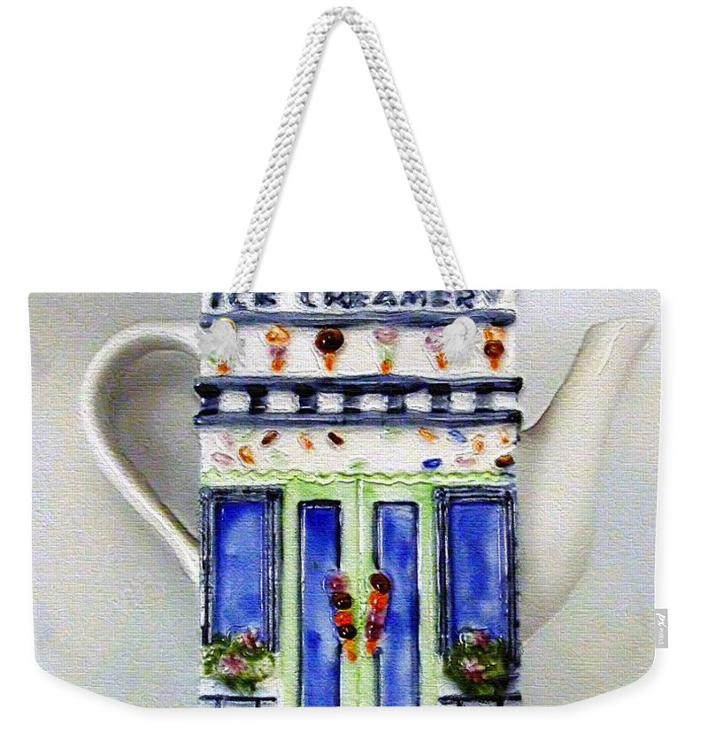 Crockery Weekender Tote Bag featuring the painting Teapot Delusional by RC DeWinter