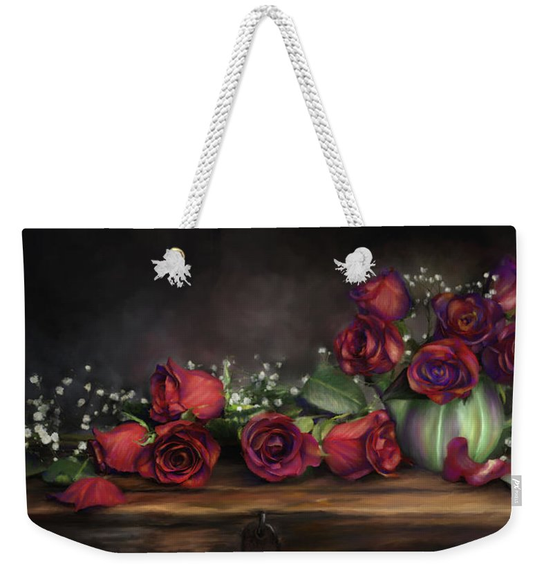 Digital Painting Weekender Tote Bag featuring the digital art Teapot Roses by Susan Kinney