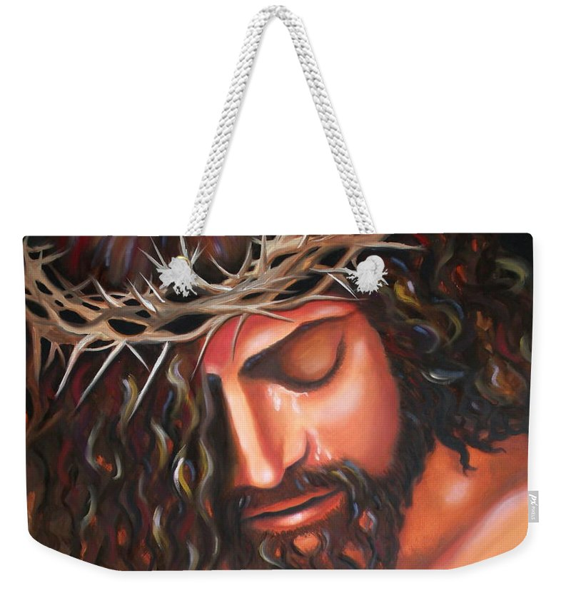 Crown Of Thorns Weekender Tote Bag featuring the painting Tears From The Crown Of Thorns by Lora Duguay