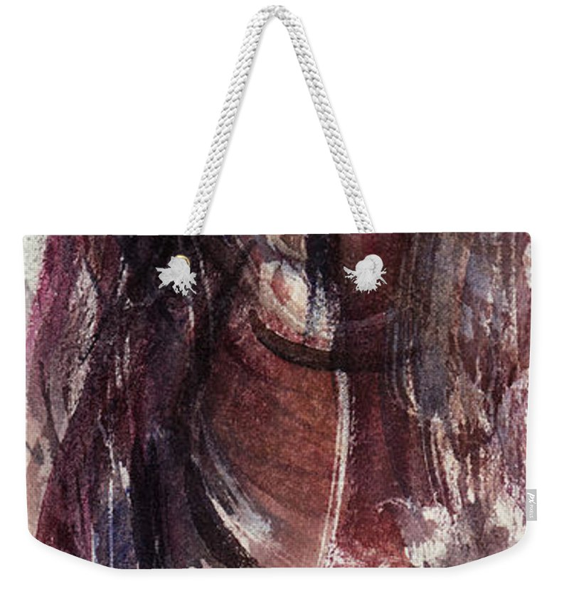 Floral Weekender Tote Bag featuring the painting Tears In Silence by Rachel Christine Nowicki