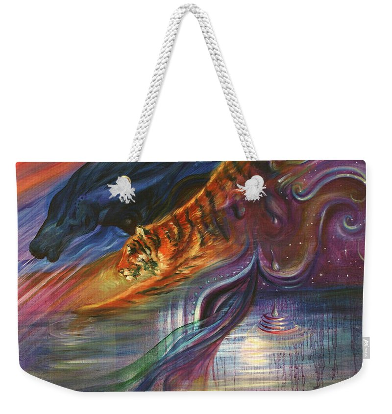 Animals Weekender Tote Bag featuring the painting Tears Of The Tiger by Sofanya White