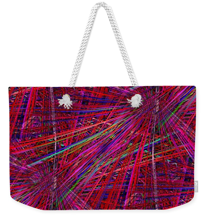 Technicolor Weekender Tote Bag featuring the digital art Technicolor Pick Up Stix by Tim Allen