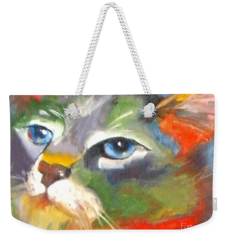 Cat Weekender Tote Bag featuring the painting Technicolor Tabby by Susan A Becker