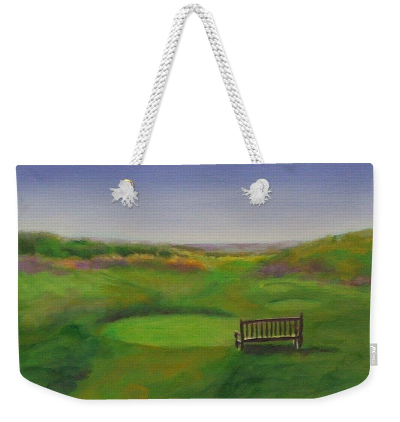 Golf Weekender Tote Bag featuring the painting Tee Hole 13 The Chute by Shannon Grissom