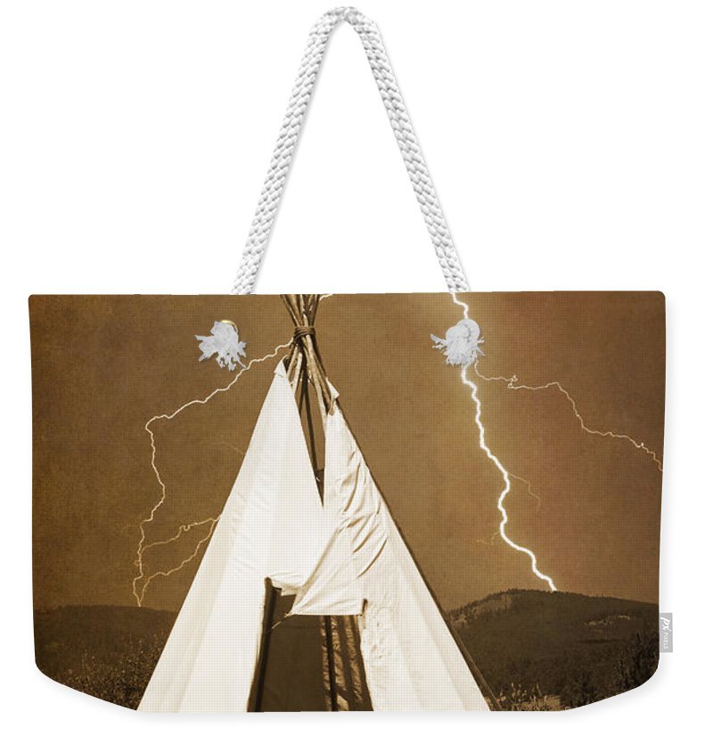 Tee Pee Weekender Tote Bag featuring the photograph Tee Pee Lightning by James BO Insogna