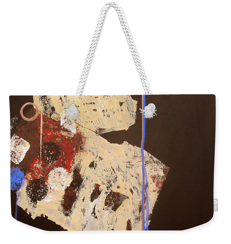 Abstract Weekender Tote Bag featuring the painting Teeter by Ruth Palmer