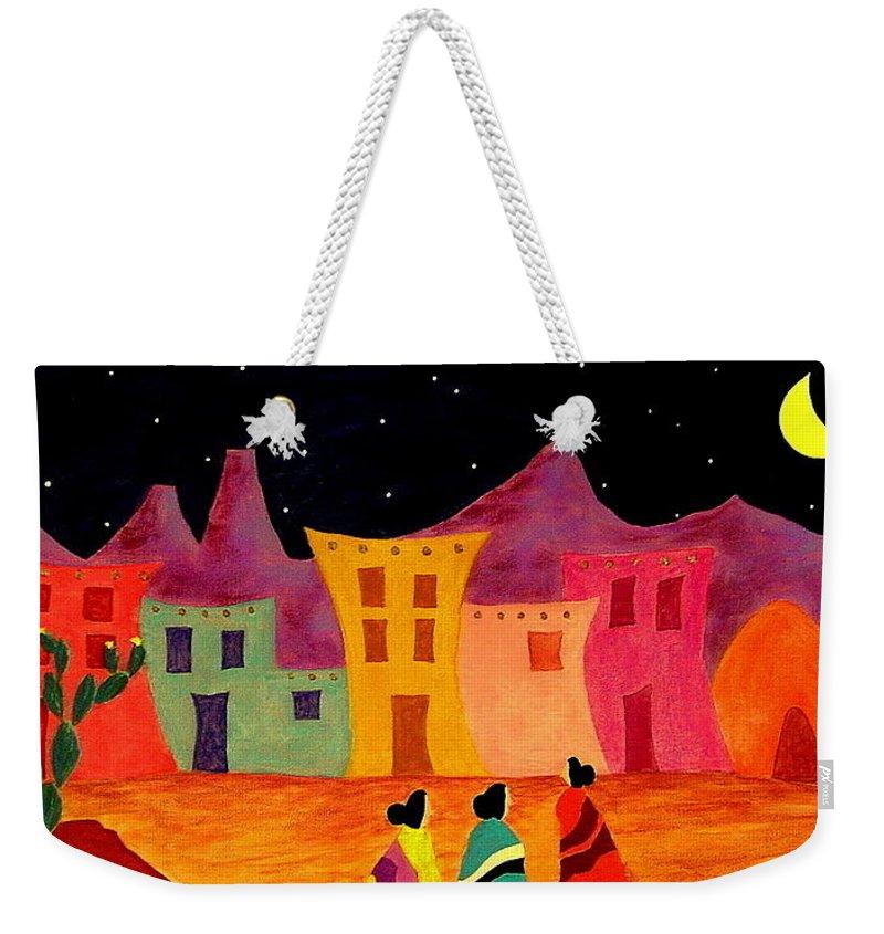 Southwest Weekender Tote Bag featuring the painting Telling Secrets by John Blake