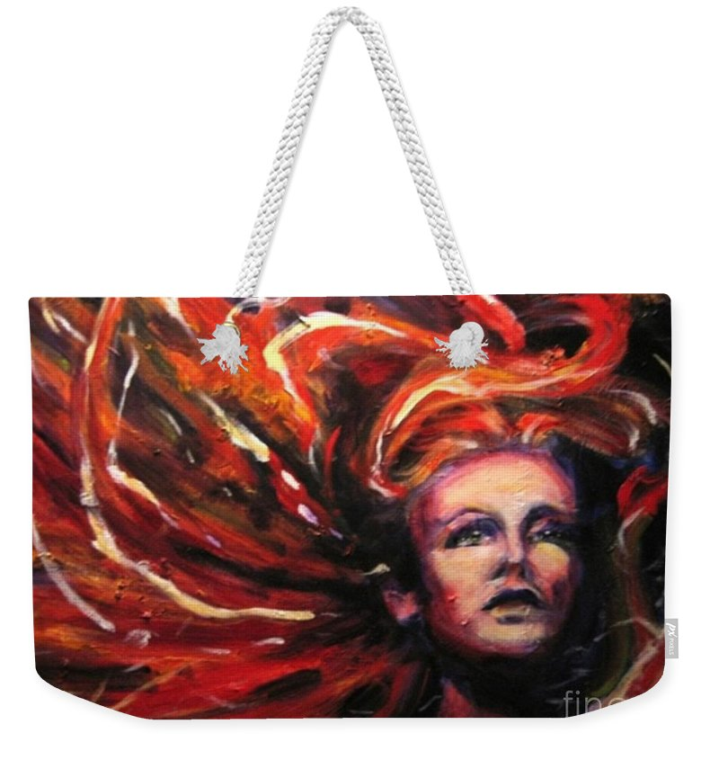 Bright Weekender Tote Bag featuring the painting Tempest by Jason Reinhardt