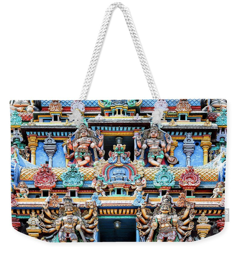 Temple Weekender Tote Bag featuring the photograph Temple Facade Chennai India by Dominic Piperata