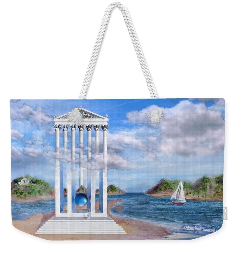 Landscape Weekender Tote Bag featuring the painting Temple For No One by Steve Karol