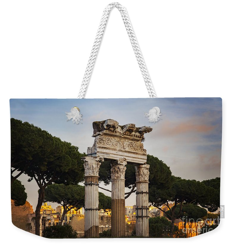 Pollux Weekender Tote Bag featuring the photograph Temple Of Castor And Pollux by Sophie McAulay