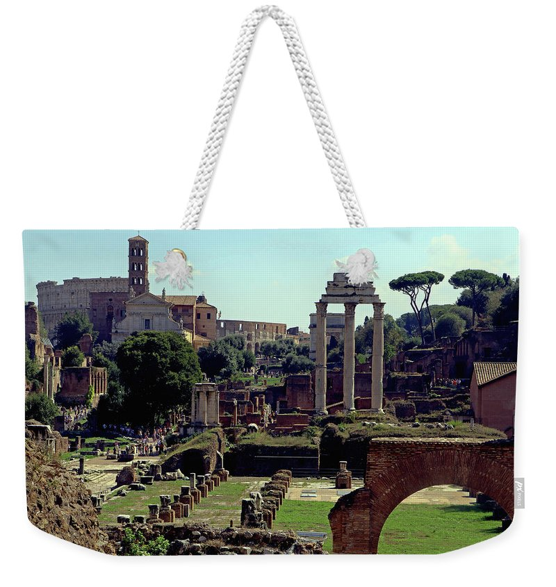 Rome Weekender Tote Bag featuring the photograph Temple Of Castor And Pollux by Tony Murtagh