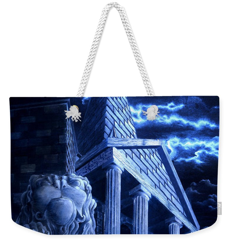 Hercules Weekender Tote Bag featuring the drawing Temple Of Hercules In Kassel by Curtiss Shaffer