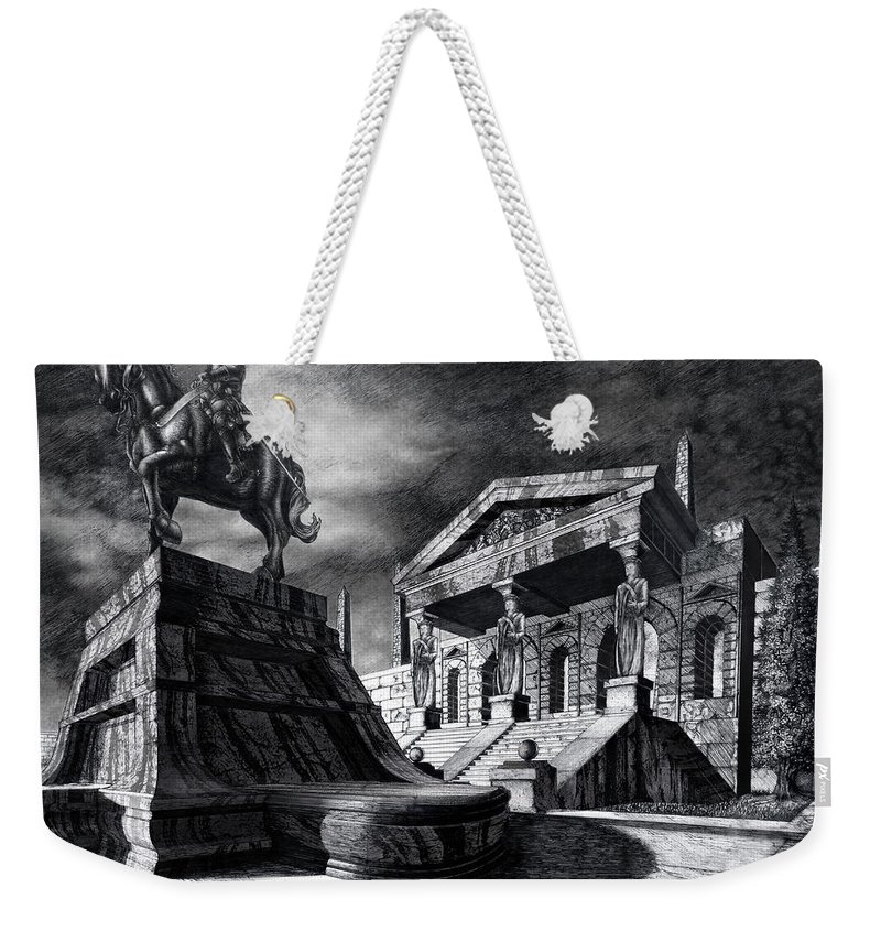 Greek Architecture Weekender Tote Bag featuring the drawing Temple Of Perseus by Curtiss Shaffer