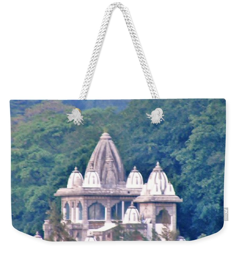 Temple Weekender Tote Bag featuring the photograph Temple In The Distance - Rishikesh India by Kim Bemis