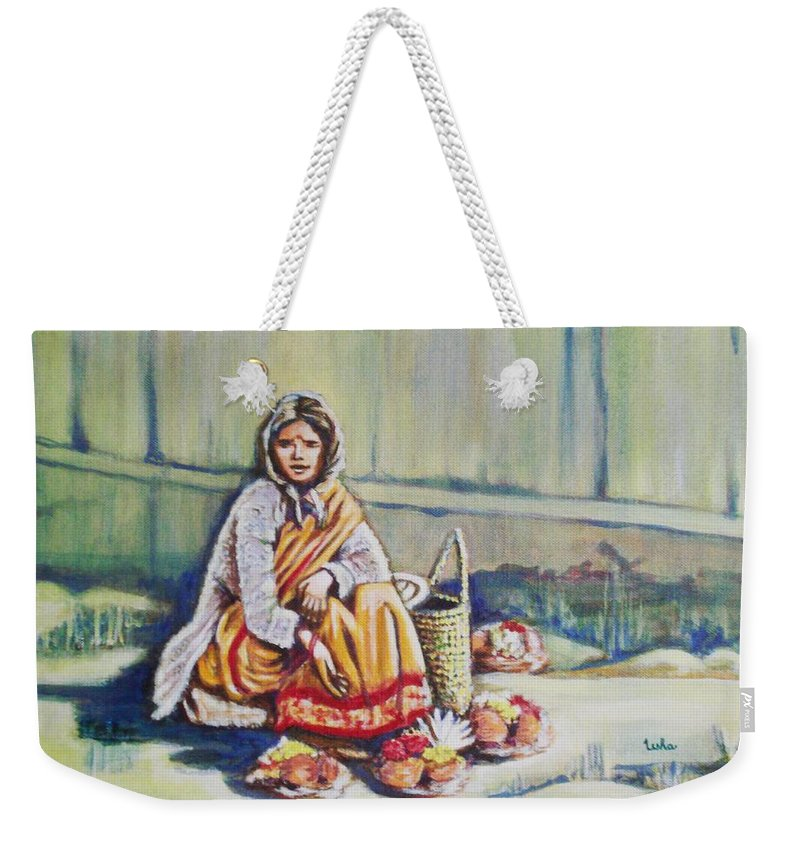 Usha Weekender Tote Bag featuring the painting Temple-side Vendor by Usha Shantharam