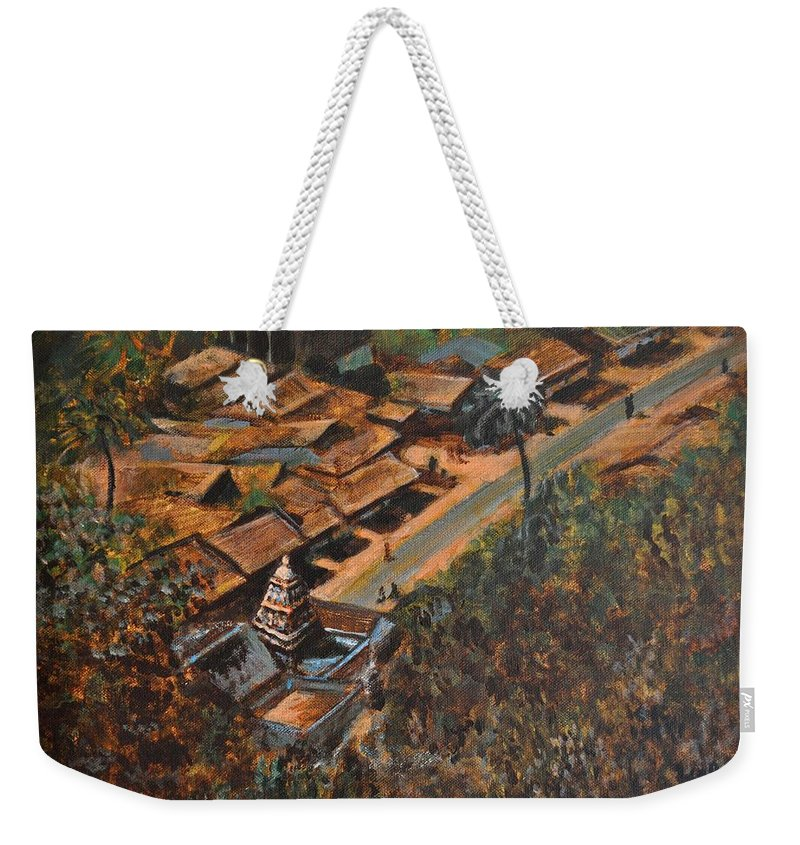 Temple Weekender Tote Bag featuring the painting Temple Town by Usha Shantharam