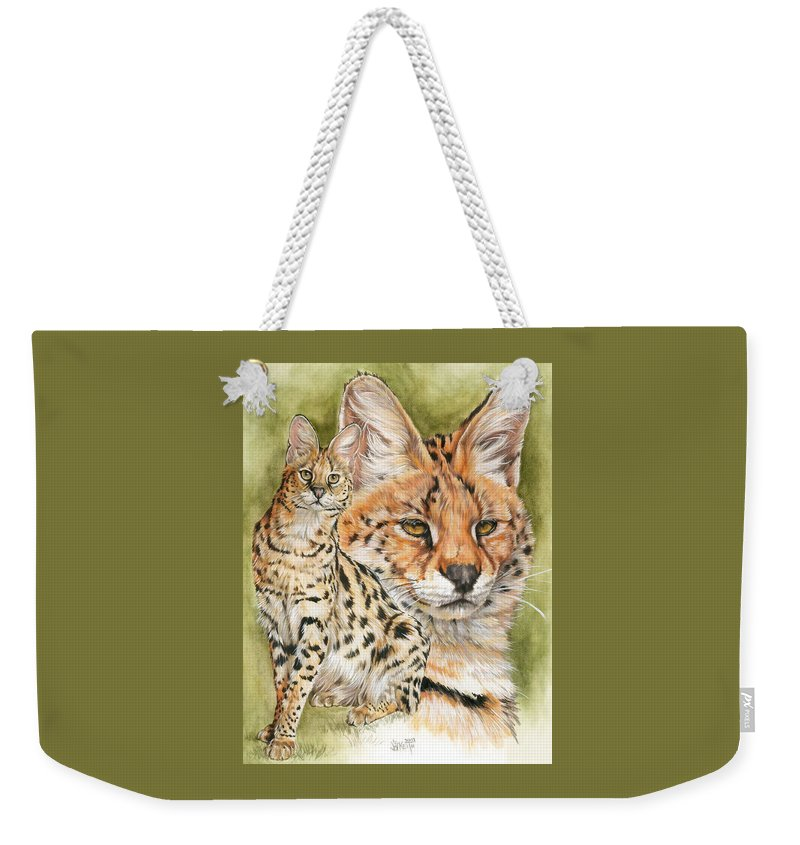 Serval Weekender Tote Bag featuring the mixed media Tempo by Barbara Keith