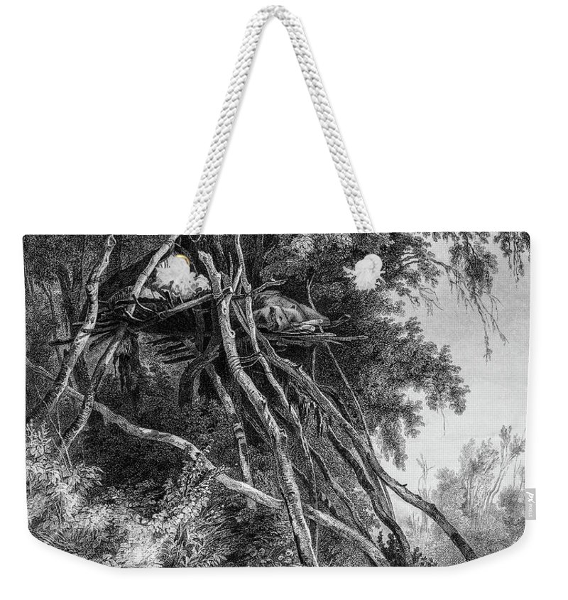 Temporary Weekender Tote Bag featuring the photograph Temporary Tree Dwelling by Douglas Barnett