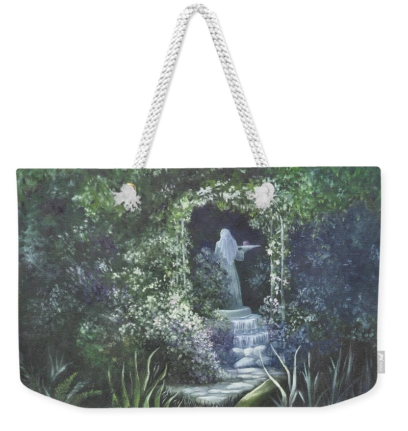 Mystery Weekender Tote Bag featuring the painting Temptation Coming. by Penny Neimiller