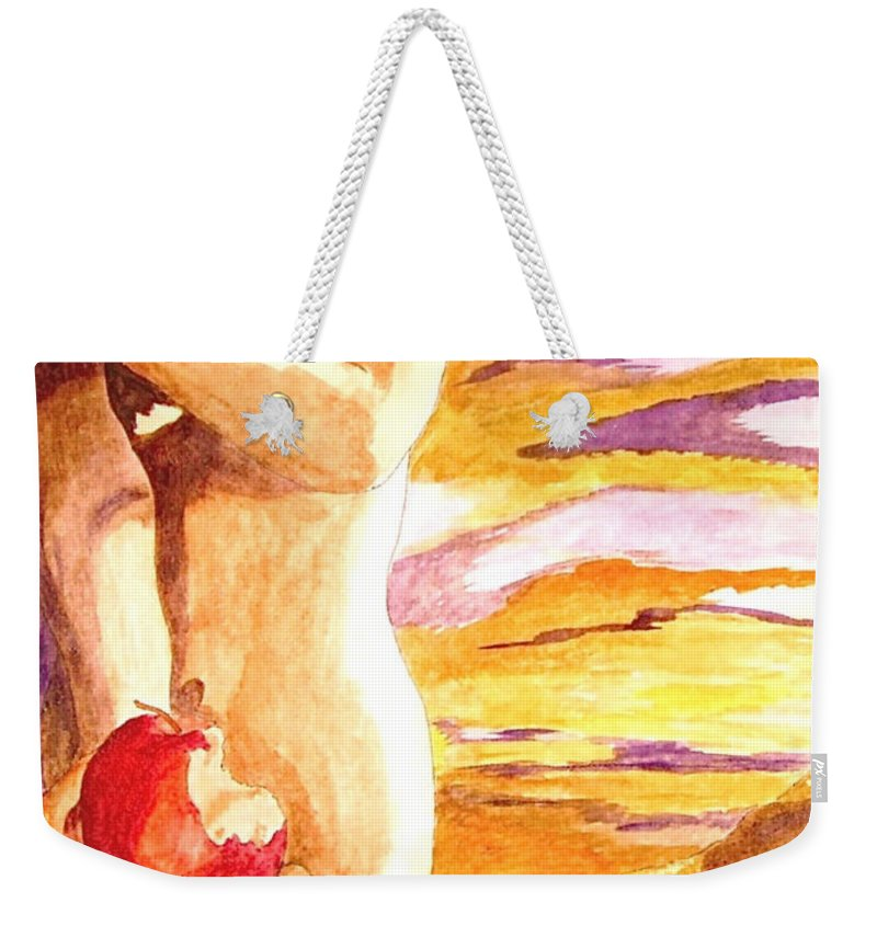 Watercolor Weekender Tote Bag featuring the painting Temptation by Herschel Fall