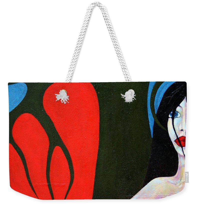 Imagination Weekender Tote Bag featuring the painting Temptation by Wojtek Kowalski