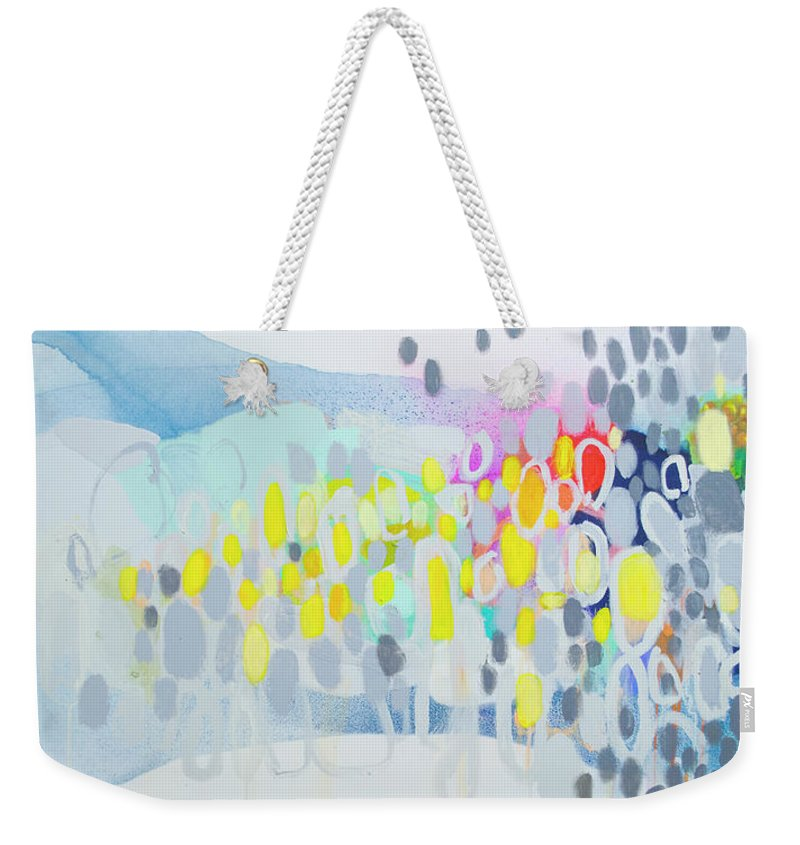 Abstract Weekender Tote Bag featuring the painting Ten O'clock Flight by Claire Desjardins