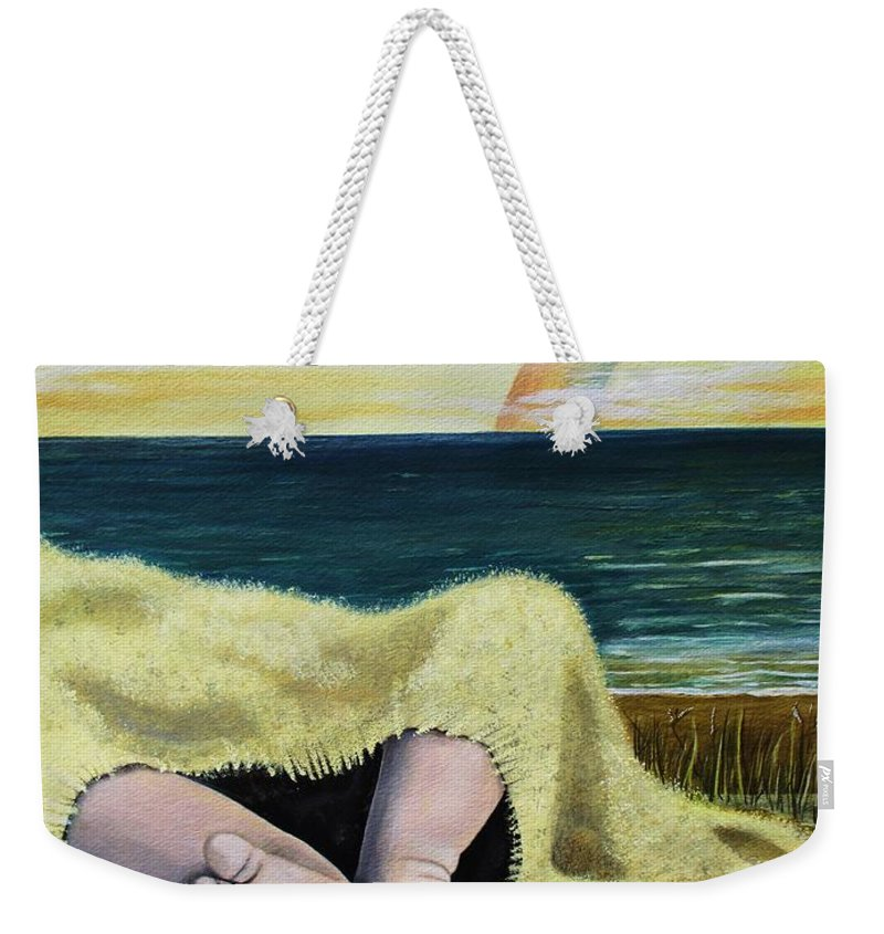 Baby Weekender Tote Bag featuring the painting Ten Precious Toes by Kris Crollard