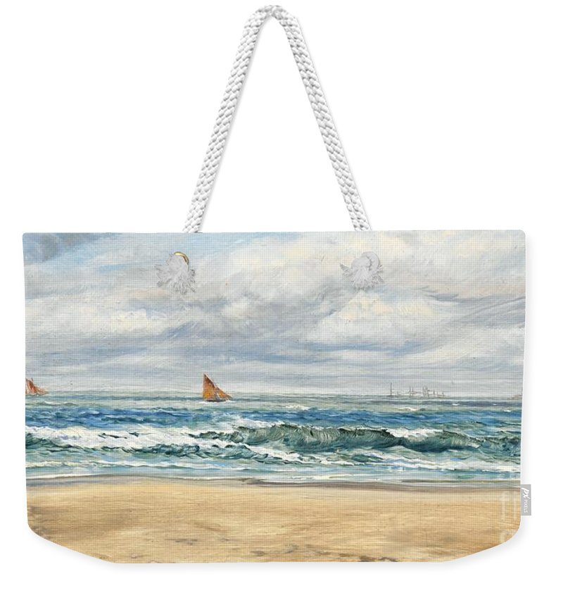 Seascape Weekender Tote Bag featuring the painting Tenby by John Brett