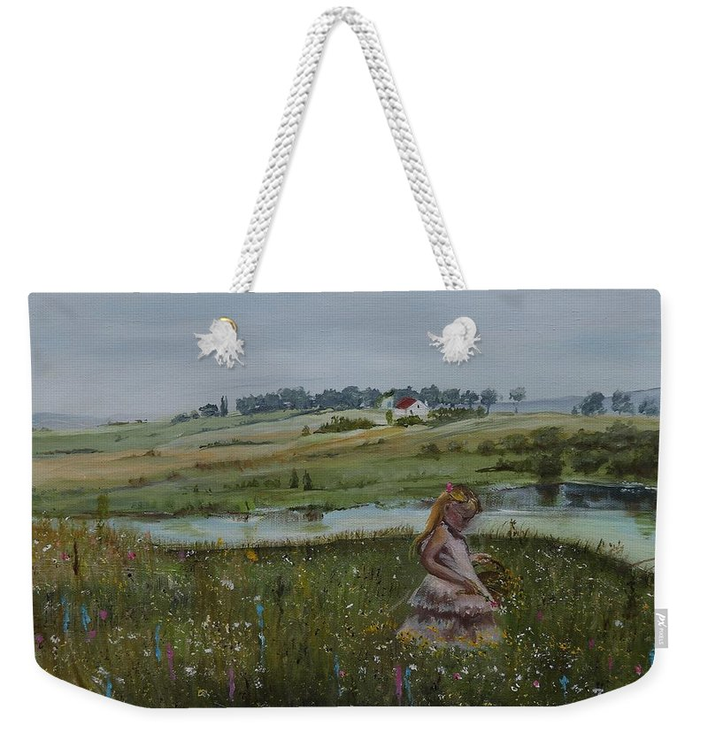 Impression Weekender Tote Bag featuring the painting Tender Blossom - Lmj by Ruth Kamenev