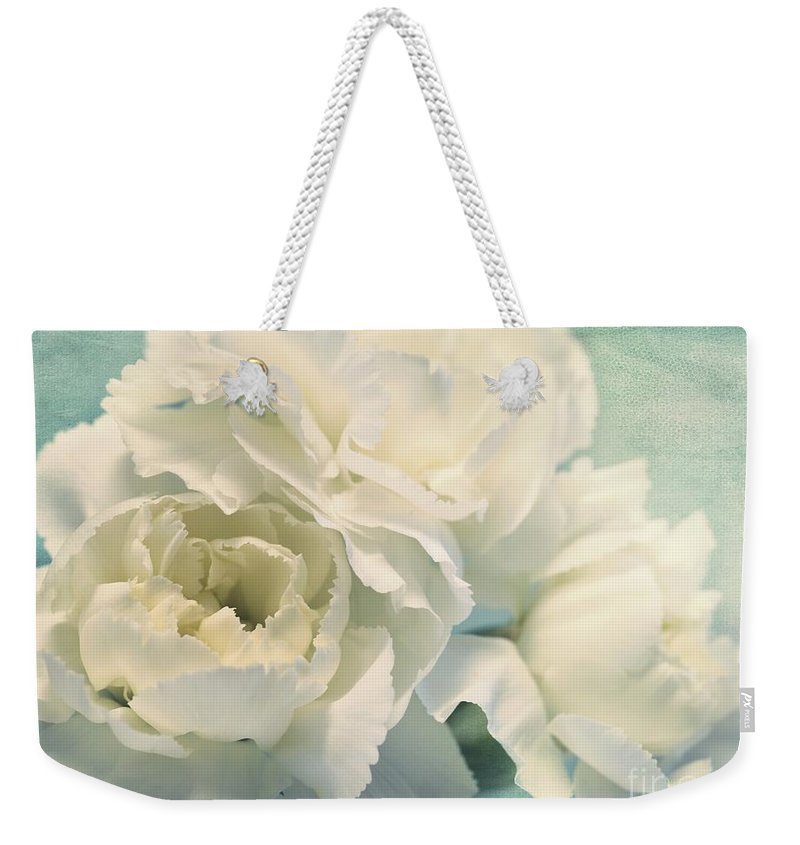 Carnation Weekender Tote Bag featuring the photograph Tenderly by Priska Wettstein