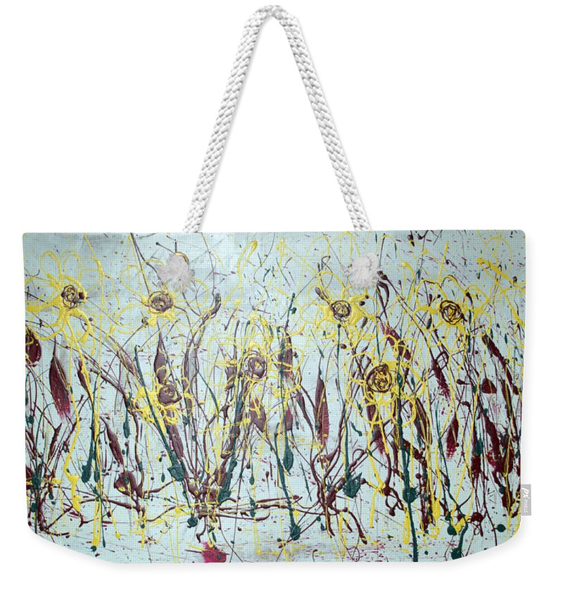 Flowers Weekender Tote Bag featuring the painting Tending My Garden by J R Seymour
