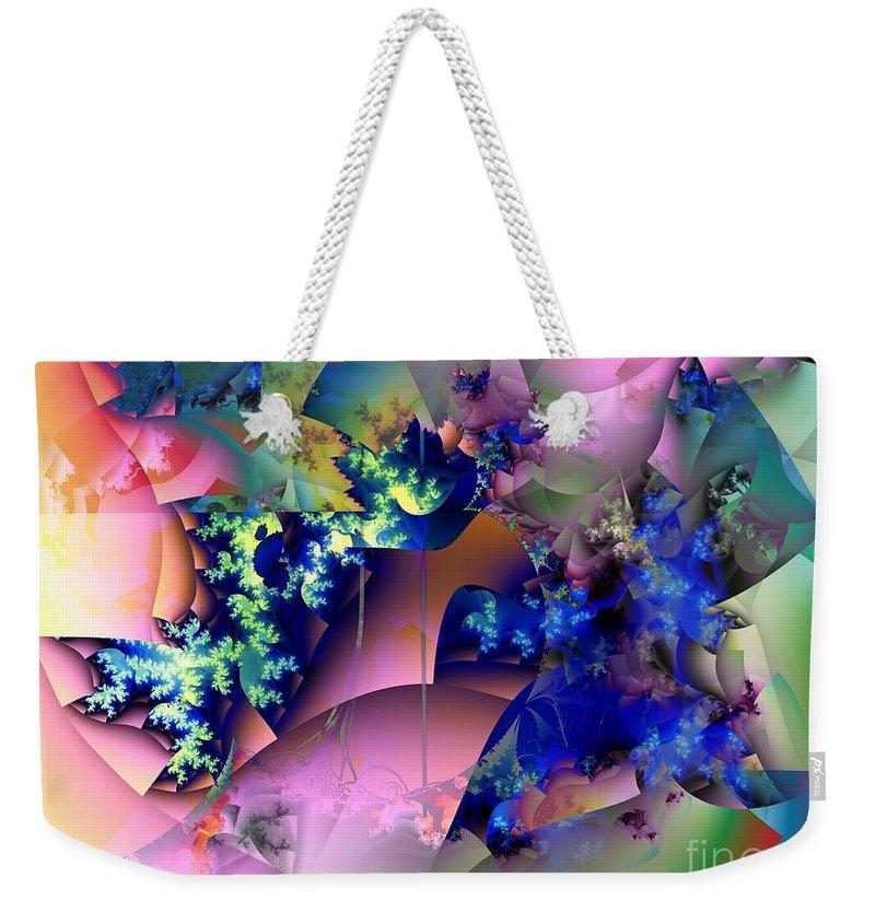 Flowers Weekender Tote Bag featuring the digital art Tending Toward Flowers by Ron Bissett