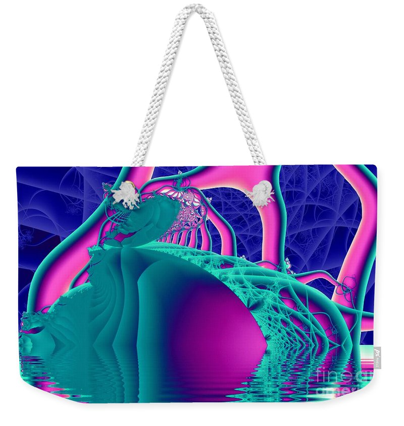 Fractal Art Weekender Tote Bag featuring the digital art Tendril Isle by Ron Bissett