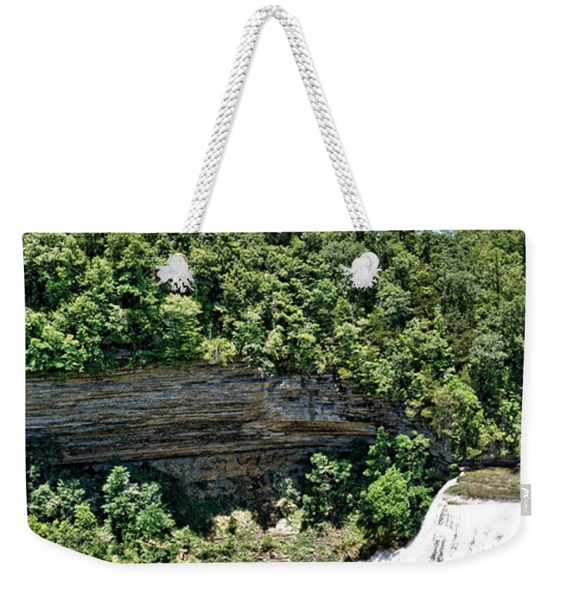 Panorama Weekender Tote Bag featuring the photograph Tennessee River Gorge And Waterfall Panorama by John Trommer