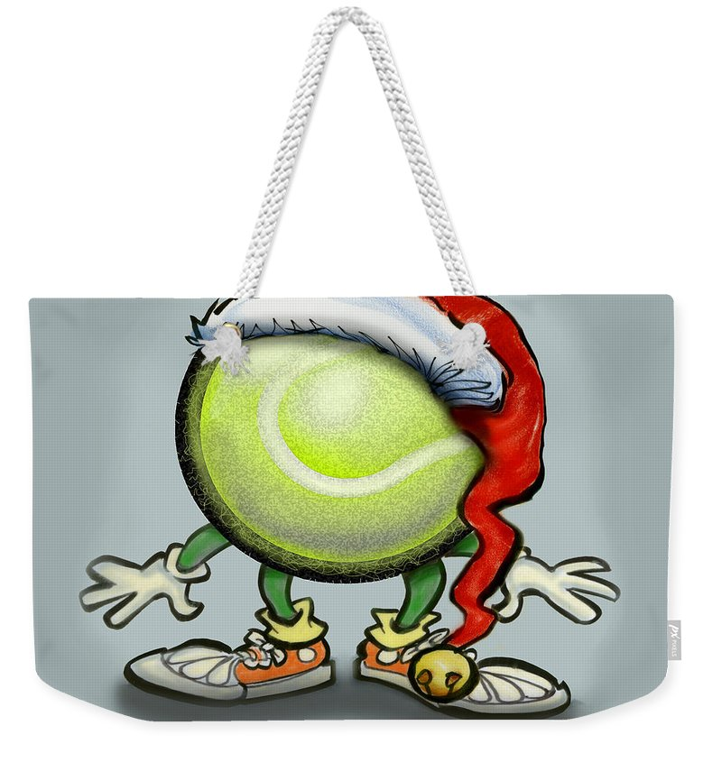 Tennis Weekender Tote Bag featuring the greeting card Tennis Christmas by Kevin Middleton
