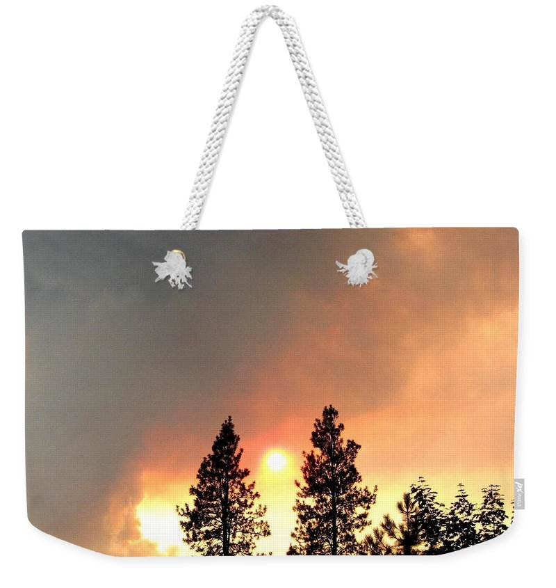 Forest Fire Weekender Tote Bag featuring the photograph Terrace Mountain Fire 2 by Will Borden